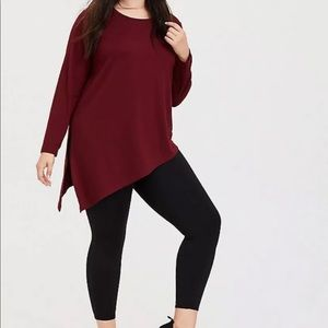 Torrid Burgundy Asymmetrical Active Sweatshirt top